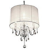Home Essence Beaumont Four Light Chandelier in Chrome - White