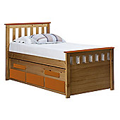 Captains Bergamo Guest Bed 3ft Antique With Orange Details