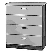 Welcome Furniture Mayfair 4 Drawer Chest - Black - Cream - Black