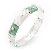 Light Green White Segmental Enamel Crystal Hinged Bangle In Rhodium Plated Metal - 19cm Length