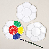 Flower Paint Plastic Palettes with 7 Wells for Painting and Children's Arts and Crafts Projects (Pack of 3)