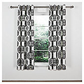 "Tesco Nouveau Lined Eyelet Curtain W163xL183cm (64x72""), Black/White"
