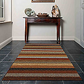 Mastercraft Rugs Woodstock Brown and Red Stripe Rug - 80cm x 150cm