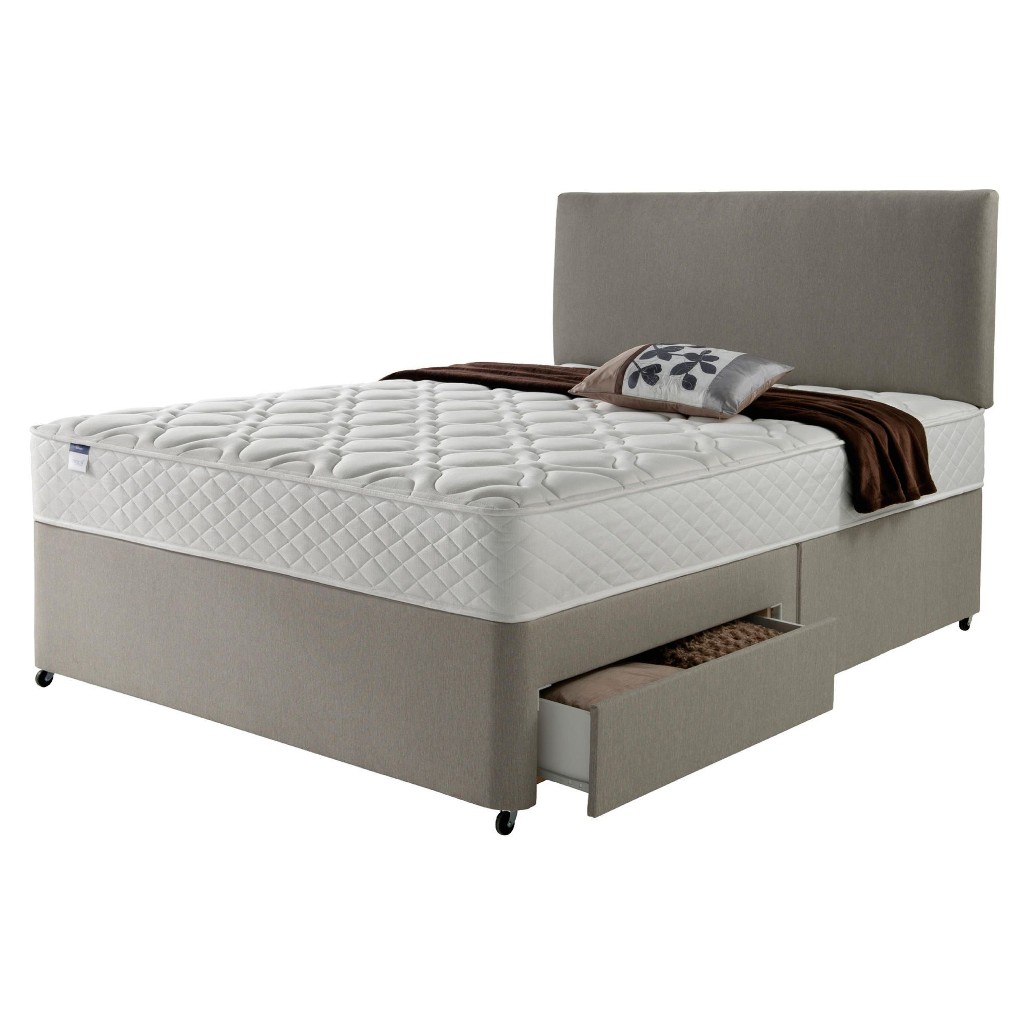 Silentnight Miracoil Luxury Micro Quilt 4 Drawer Super King Divan Mink with Headboard at Tesco Direct