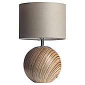 Globe Wood Effect Ceramic Table Lamp, Linen