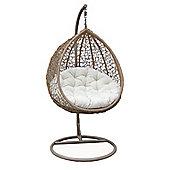 Bentley Garden Rattan Hanging Swing Chair - Brown & Cream