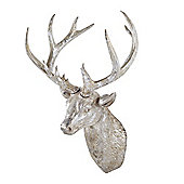 Antique Silver Finish Resin Stag's Head Wall Art Feature