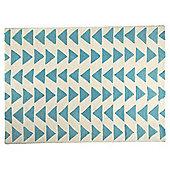 Triangle Wool Rug 120 x 170cm, Blue