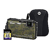 Nikon Coolpix AW110 Camo Camera Kit inc 4GB SD Card and Case