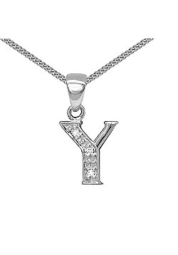 Jewelco London 9 Carat White Gold Elegant Diamond-Set Pendant on an 18 inch Pendant Chain Necklace - Inital Y