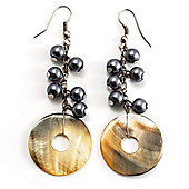 Mother-Of-Pearl Bead Drop Earrings (Silver Tone)