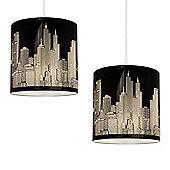 Pair of New York Skyline Ceiling Pendant Light Shades in Gloss Black