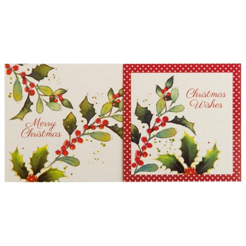 Tesco Foliage Christmas Cards, 12 Pack