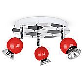 Modern Three Way Football Design Ceiling Spotlight in Red and Chrome