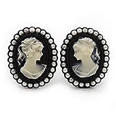 Classic Simulated Pearl Cameo Clip-On Earrings (Black Tone) - 3.3cm Length