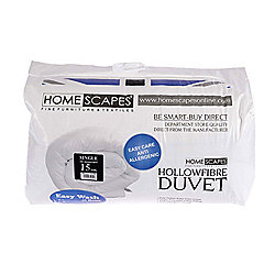 Homescapes 15 Tog Hollowfibre Single Winter Duvet