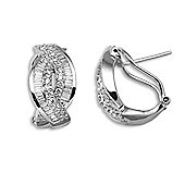 Jewelco London 18 Carat White Gold 1.58ct Diamond Post & Clip Earring