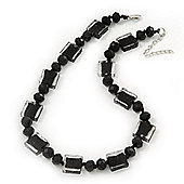 Black/Transparent Glass Bead Necklace In Silver Plating - 42cm Length/ 6cm Extension