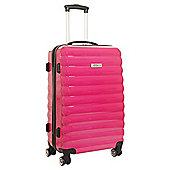 Luggage Zone 4-Wheel Small Gloss Pink Suitcase