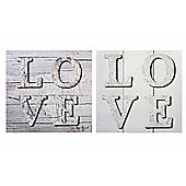 Parlane Set of Two Square Canvas Wall Art - Wooden Love