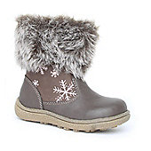 Feet Street Girls Brown Snowflake Calf Boot