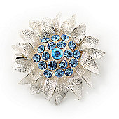 Small Textured Light Blue Diamante 'Daisy' Pin Brooch In Rhodium Plating - 25mm Diameter