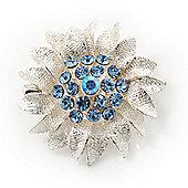 Small Textured Light Blue Diamante 'Daisy' Pin Brooch In Rhodium Plating - 25mm Diameter