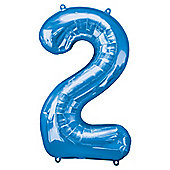 """Blue Number 2 Balloon - 34"""" Foil"""