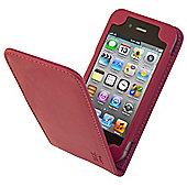 Tortoise™ Look Genuine Leather Flip Case iPhone 4/4S Pink