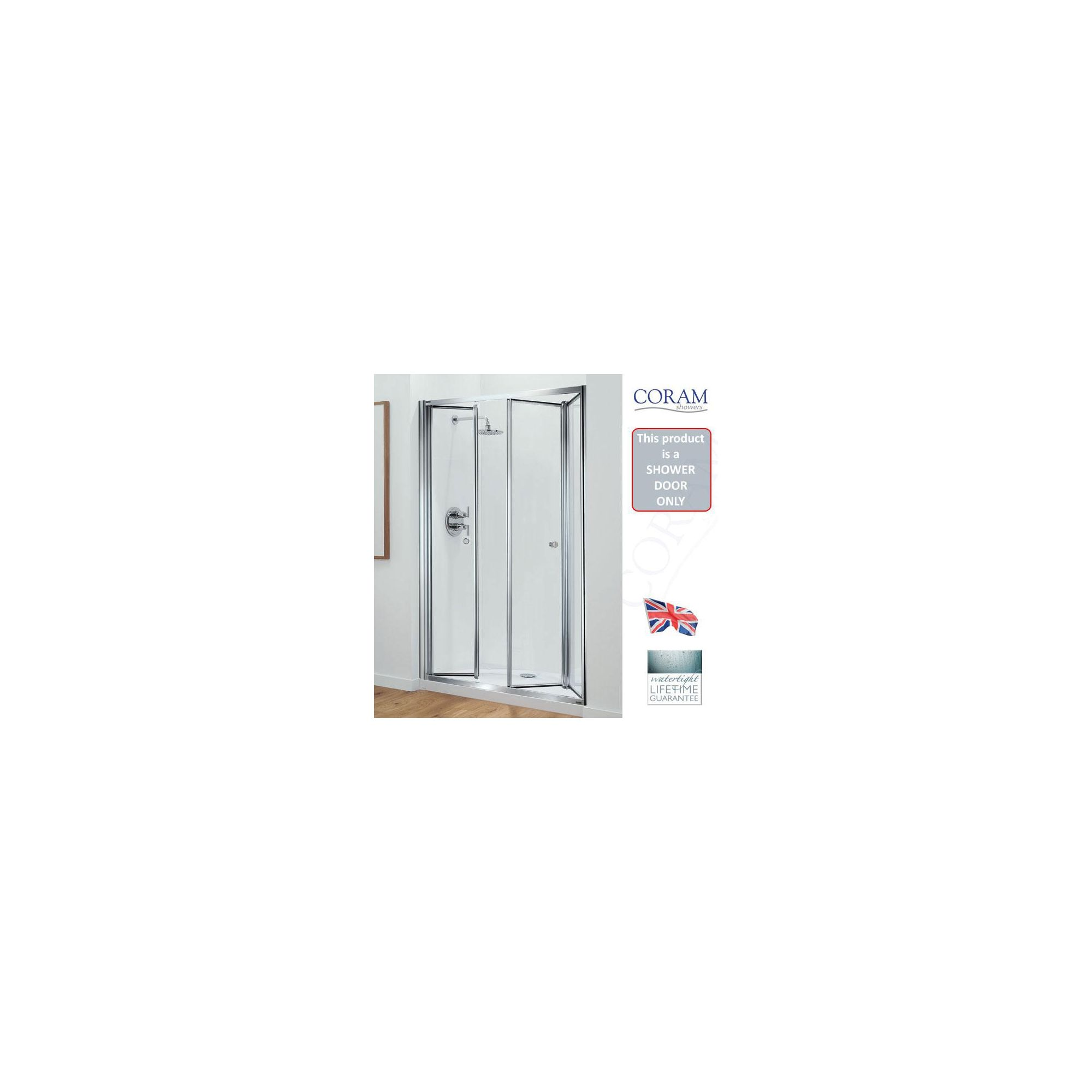 Coram Optima Tri-Fold Shower Door, 1200mm Wide, Chrome Frame, 6mm Plain Glass at Tesco Direct