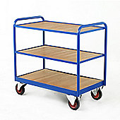 Industrial Three Tray Trolley with Timber Panel Trays