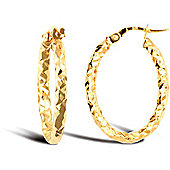 Jewelco London 9ct Yellow gold Hammered Oval Hoop Earring