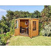 7ft x 7ft Cranbourne Corner Summerhouse - 7 x 7 Assembled Garden Wooden Summerhouse 7x7
