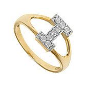 Jewelco London 9ct Gold Ladies' Identity ID Initial CZ Ring, Letter I - Size L