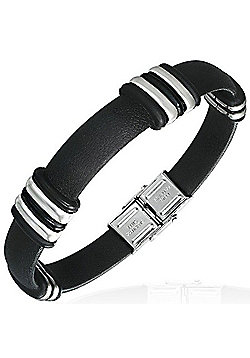 Urban Male Fashionable Black Rubber & Stainless Steel Bracelet