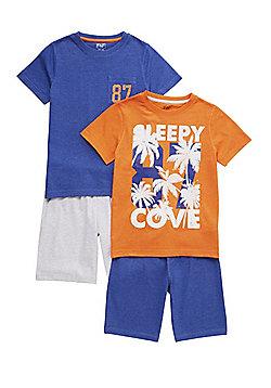 F&F 2 Pack of Sleepy Cove Shorts Pyjamas - Multi