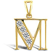 Jewelco London 9ct Gold CZ Initial ID Personal Pendant, Letter M