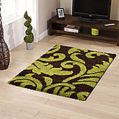 Think Rugs Majesty Brown/Green Shaggy Rug - 60 cm x 120 cm (2 ft x 3 ft 9 in)