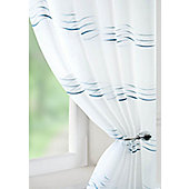 Waves Voile Curtain Panel - Blue