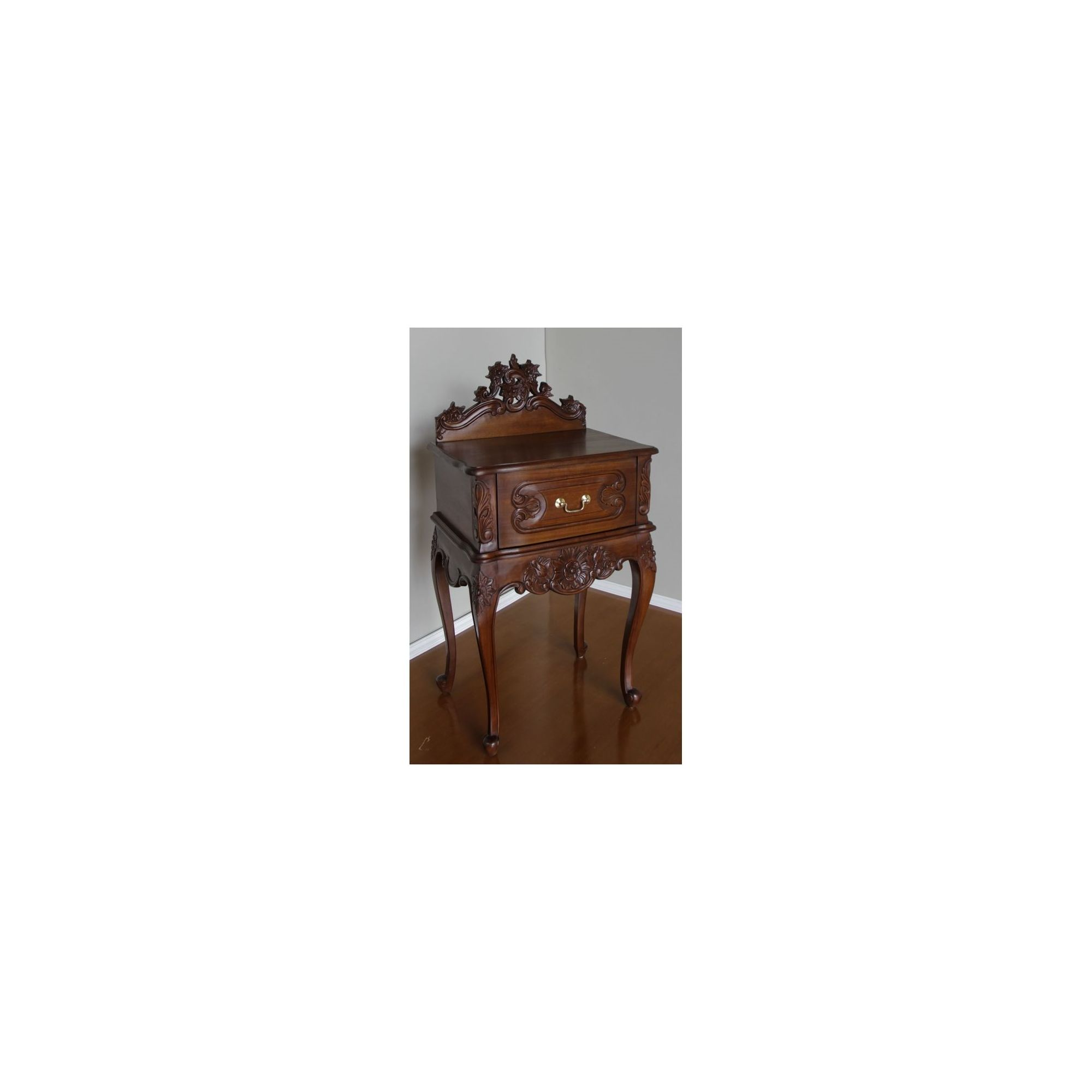 Lock stock and barrel Mahogany Rococo Bedside Table with Pediment in Mahogany - Wax at Tescos Direct