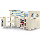 Happy Beds Cameo Right Ladder White Solid Pine Wooden Kids Mid Sleeper Sleep Station Desk Cabin Storage Bed Pocket Sprung Mattress 3ft Single