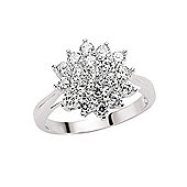 Rhodium-Coated Sterling Silver CZ Cluster Gemstone Ring Size