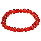 Red Glass Bead Stretch Bracelet