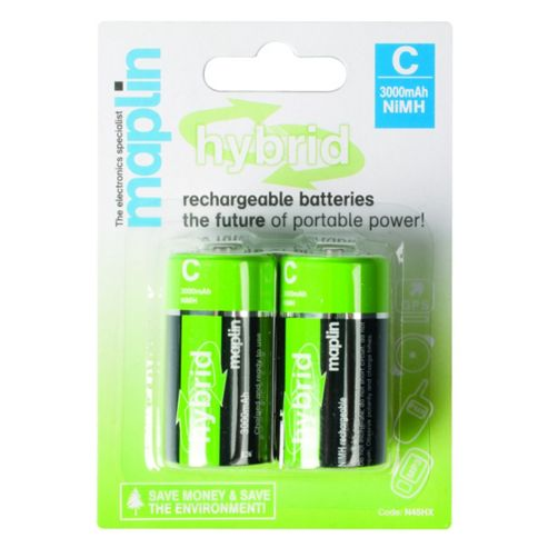 Maplin Hybrid Rechargeable 3000mAh C Batteries 2 Pack
