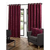 Velvetine Eyelet Curtains 168 x 137cm - Red