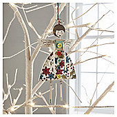 Gisela Graham Vintage Wood Fairy Floral Hanging Decoration