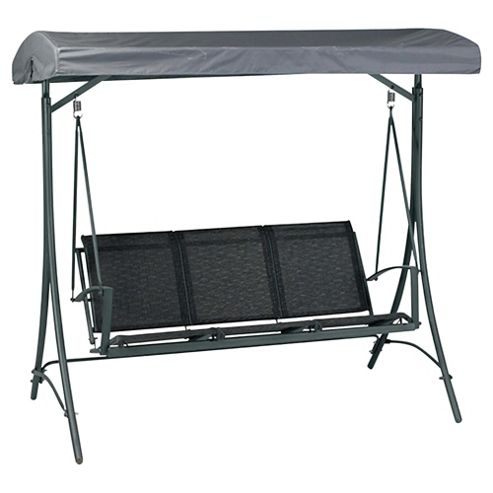 Valencia Metal/Waterproof Woven Textile 3 Seater Swing Bench - Black