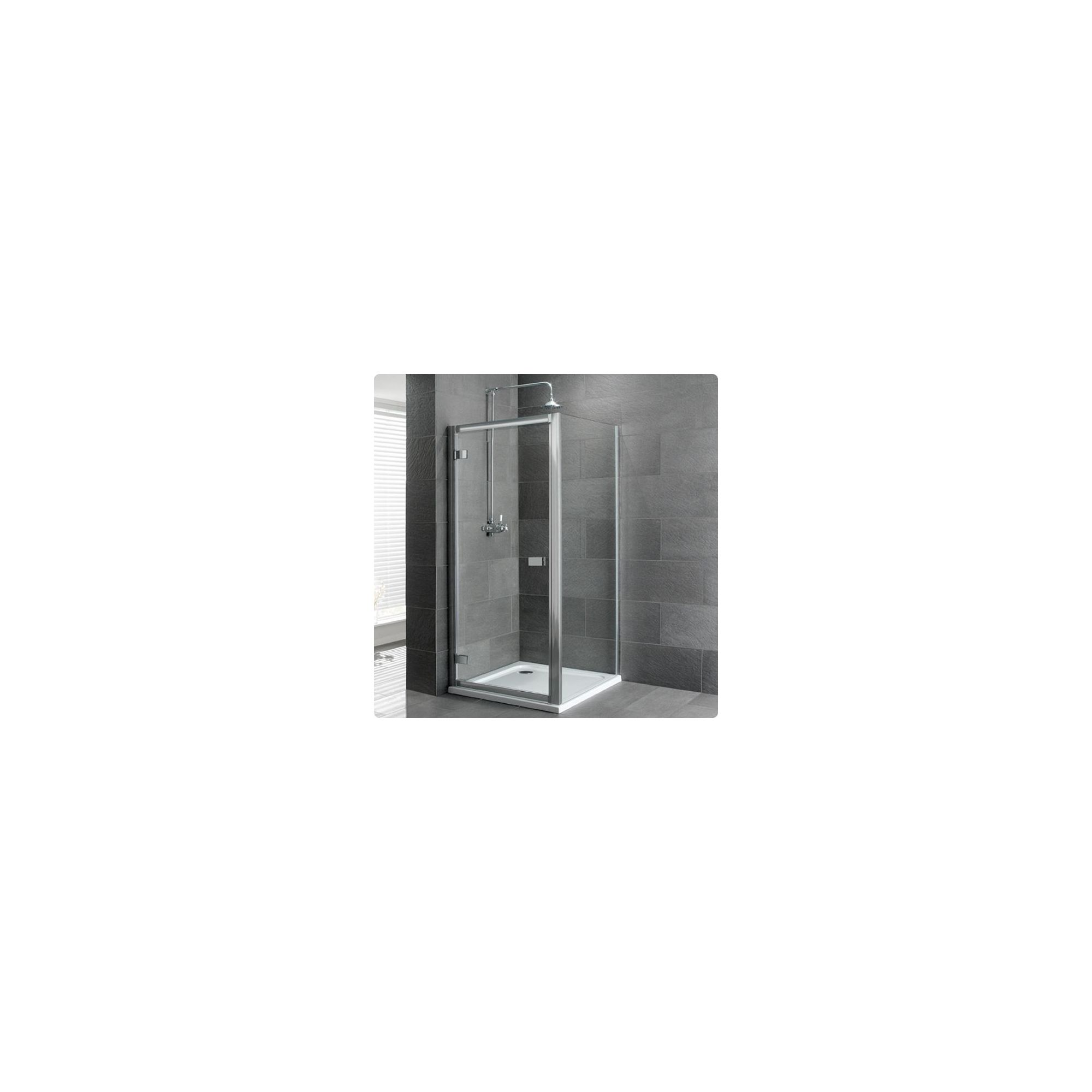 Duchy Select Silver Hinged Door Shower Enclosure, 800mm x 700mm, Standard Tray, 6mm Glass at Tesco Direct