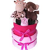 2 Tier Baby Girl Pink Safari Nappy Cake