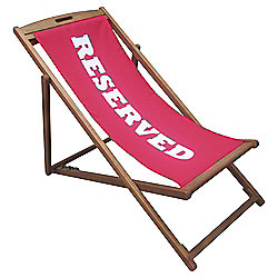 """Tesco Fold-up Wooden Deckchair with """"Reserved"""" Design, Pink"""